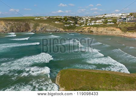 Waves surf and sea Mawgan Porth north Cornwall England near Newquay