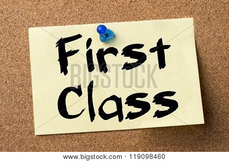 First Class - Adhesive Label Pinned On Bulletin Board