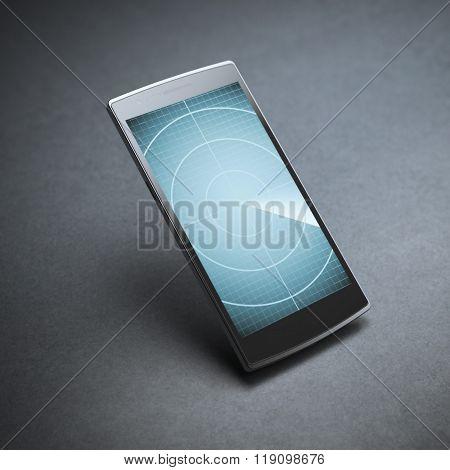 Modern smartphone with blue radar