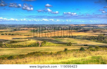 English countryside from Ivinghoe Beacon Chiltern Hills Buckinghamshire England UK in colourful HDR