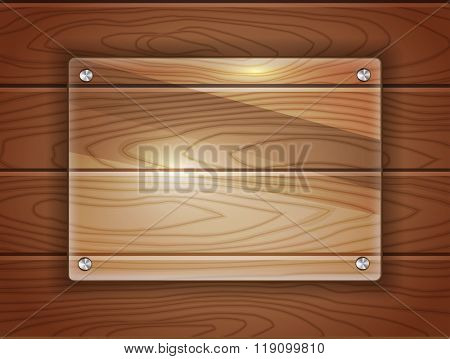Realistic glass plaque over dark wood background. Space for your text.