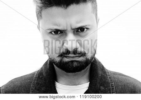 Close-up Studio Portrait Man Doubt Facial Expression On White