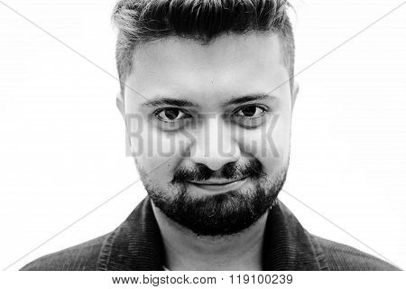 Close-up Studio Portrait Man Satisfaction Smile Expression On White
