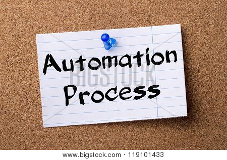 Automation Process - Teared Note Paper Pinned On Bulletin Board