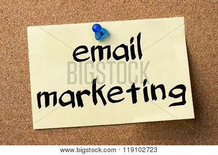Email Marketing - Adhesive Label Pinned On Bulletin Board
