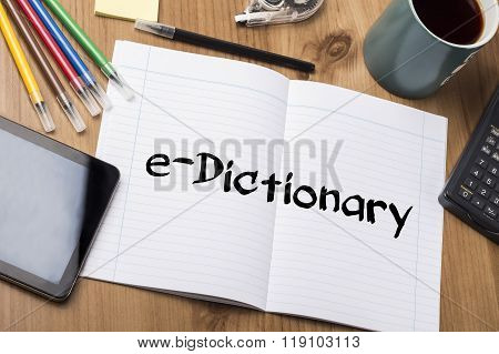 E-dictionary - Note Pad With Text