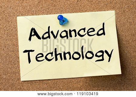 Advanced Technology - Adhesive Label Pinned On Bulletin Board