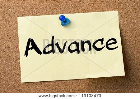 Advance - Adhesive Label Pinned On Bulletin Board