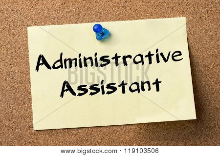 Administrative Assistant - Adhesive Label Pinned On Bulletin Board
