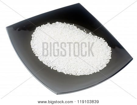 Rice On Black Plate