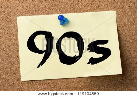 90S - Adhesive Label Pinned On Bulletin Board
