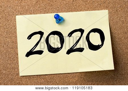 2020 - Adhesive Label Pinned On Bulletin Board