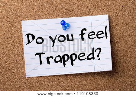 Do You Feel Trapped? - Teared Note Paper Pinned On Bulletin Board