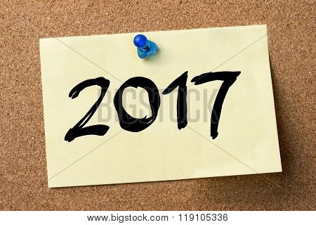 2017 - Adhesive Label Pinned On Bulletin Board