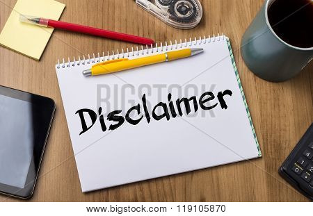 Disclaimer - Note Pad With Text
