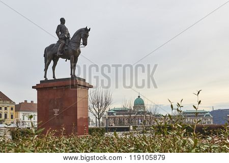 BUDAPEST, HUNGARY - FEBRUARY 02: Bronze statue of mounted military leader Artur Gorgey, with Buda Castle in the background. February 02, 2016 in Budapest.