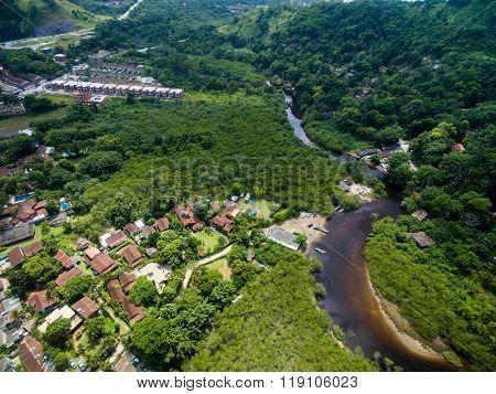 Aerial View of Hills in Sao Sebastiao, Sao Paulo, Brazil