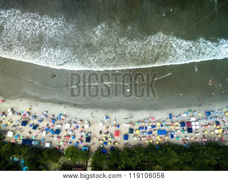 Top View of Ubatuba Beach, Sao Paulo, Brazil