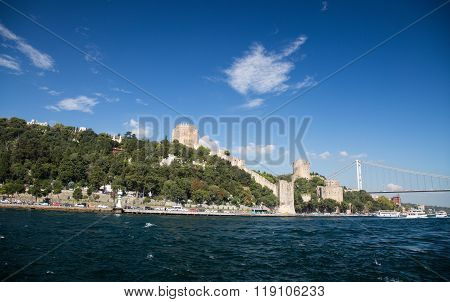 Rumelian Castle In Bosphorus Strait Coast Of Istanbul City, Turkey