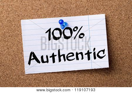100% Authentic - Teared Note Paper Pinned On Bulletin Board