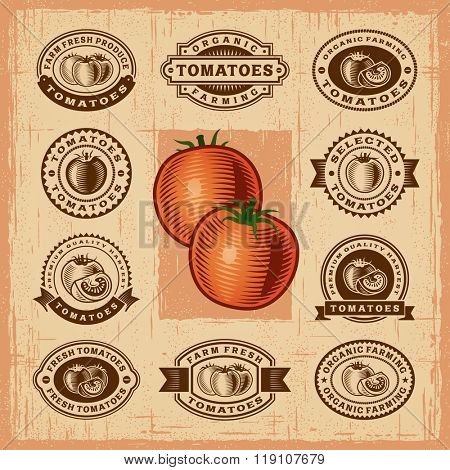 Vintage tomato stamps set. Editable EPS10 vector illustration with transparency.