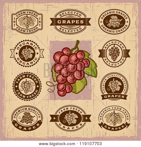 Vintage grapes stamps set. Editable EPS10 vector illustration with transparency.