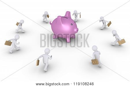 Businessmen Running To Pig Money Box