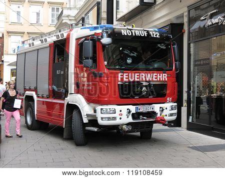 VIENNA AUSTRIA - CIRCA JUNE 2014: Feuerwehr (meaning Fireman) truck