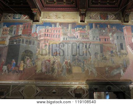 SIENA ITALY - CIRCA DECEMBER 2014: Ambrogio Lorenzetti 1285-1348 Allegory of the Good Government: Effects of Good Government on the City Life 1338-1340