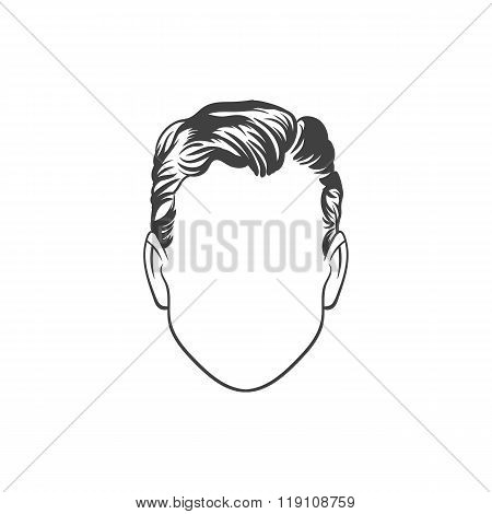 Man haircut. Hand drawn  vector illustration. Man's  Hairstyle