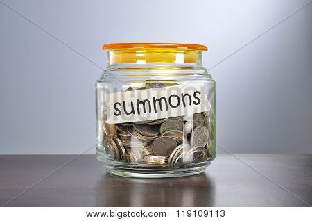 Saving Concept Of Coins In The Glass Jar For Summons  Purpose