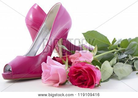 Pink High Heel Shoes With Roses.