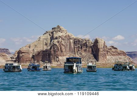 Boats at Lake Powell with Canyons in Background