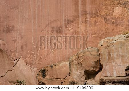 Petroglyphs of ancient Anasazi Indian tribe in Capitol Reef National Park