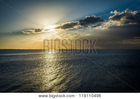Sunset Over Manila Bay, Seen From Pasay, Metro Manila, The Philippines.