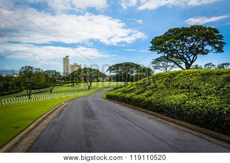 Road At The Manila American Cemetery & Memorial, In Taguig, Metro Manila, The Philippines.