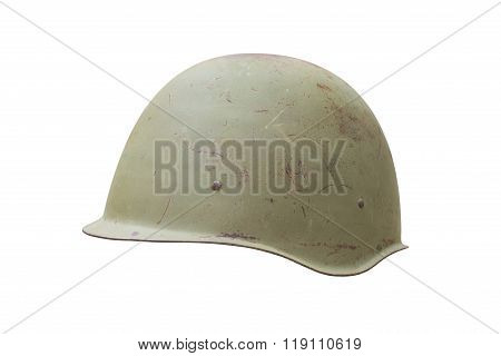 Old military helmet from Second World War with scratches and rust. Isolated on white, clipping path