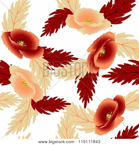 Pattern red and beige poppies