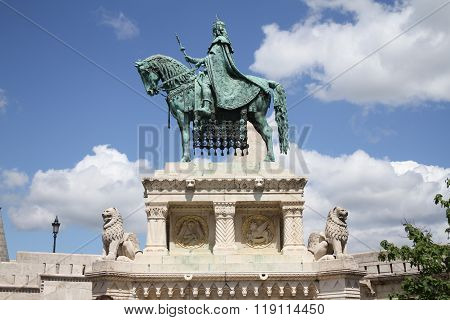 Statue of King St Stephen at St Matthias Church Budapest Hungary