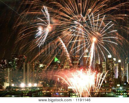Fireworks Over The Hudson River