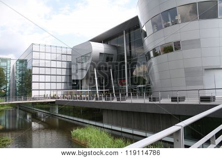 Dresden, Germany - May 19, 2014: Volkswagen's Glass Factory. The Transparent Factory Is An Automobil