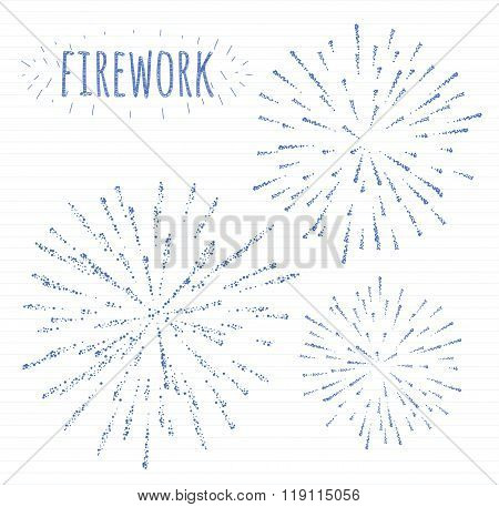 Set Of Sketch Festive Firework Bursting In Various Sparkling Shapes Abstract Vector Isolated Illustr