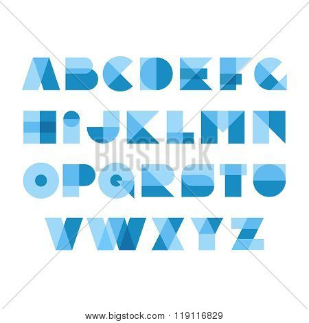 Geometric Shapes Font Alphabet. Overlay Transparent Style Letters. Transparency Are Flattened. Can B