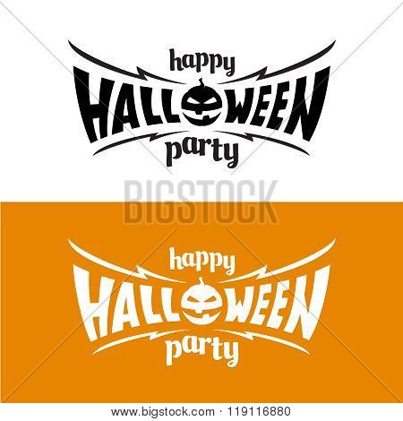 Happy Hallowen Party Title Logo Template. Bat Wings Shape With Evil Pumpkin.