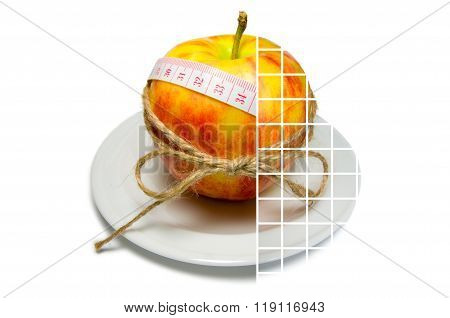 Collage Of Apple Surrounding Of Measuring Tape Tied With Twine With Transparent Squares