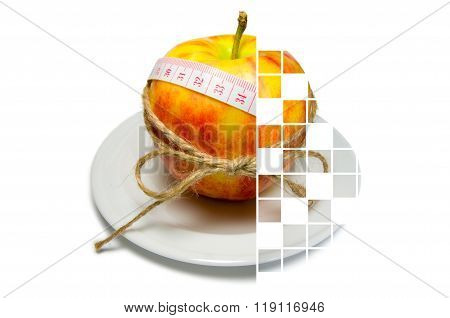 Collage Of Apple Surrounding Of Measuring Tape Tied With Twine With Squares Some Of Them Are Filled
