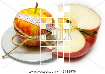 Collage Of Apple Surrounding Of Measuring Tape Tied With Twine And Half Of Turned Apple On Different