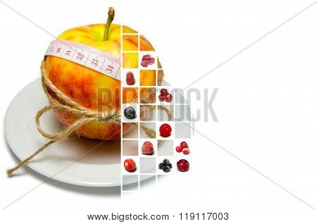 Collage Of Apple Surrounding Of Measuring Tape Tied With Twine And Frozen Berries On Squares (horizo