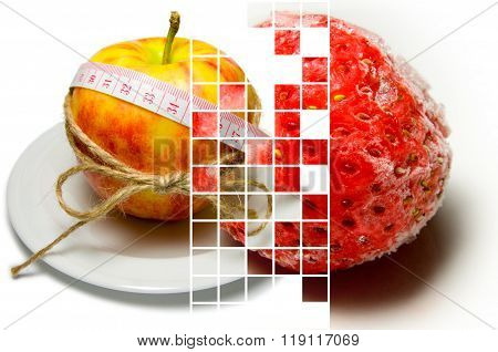 Collage Of Apple Surrounding Of Measuring Tape Tied With Twine And Frozen Strawberry Closeup On Diff