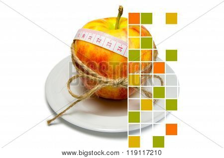 Collage Of Apple Surrounding Of Measuring Tape Tied With Twine With Squares, Some Of Them Are Filled